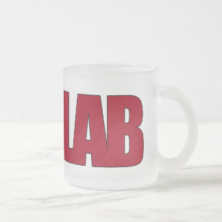 LAB BIG RED LETTERS LABORATORY FROSTED GLASS COFFEE MUG