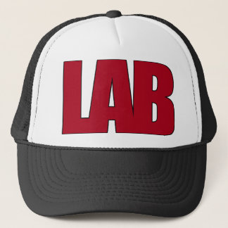 LAB BIG RED LETTERS LABORATORY TRUCKER HAT