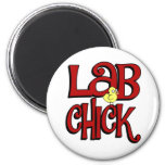 LAB CHICK - LABORATORY GIRL SLANG / HUMOR 2 INCH ROUND MAGNET