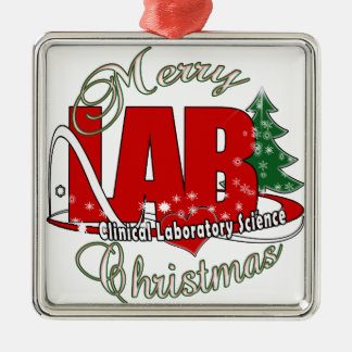 LAB CHRISTMAS CLINICAL LABORATORY SCIENCE METAL ORNAMENT