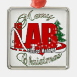 LAB CLINICAL MANAGER MERRY CHRISTMAS SQUARE METAL CHRISTMAS ORNAMENT
