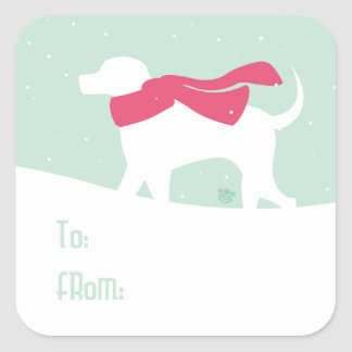 Lab Dog in Snow Adhesive Gift Tags Square Sticker