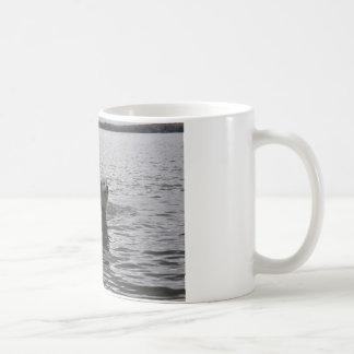 Lab Dog in water Coffee Mugs