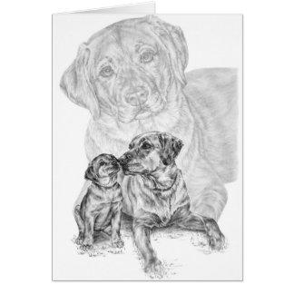 Lab Dog & Puppy Drawing by Kelli Swan Cards