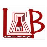 LAB FLASK LOGO MT - MEDICAL TECHNOLOGIST POST CARD