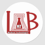 LAB FLASK LOGO MT - MEDICAL TECHNOLOGIST ROUND STICKERS