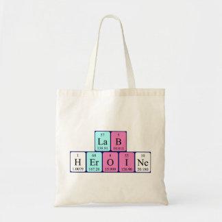 Lab Heroine periodic table name tote bag