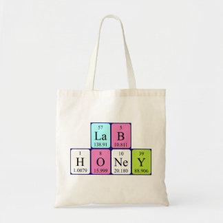 Lab Honey periodic table name tote bag