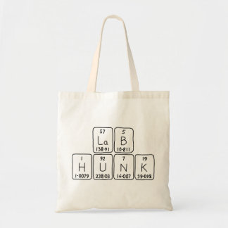 Lab Hunk periodic table name tote bag