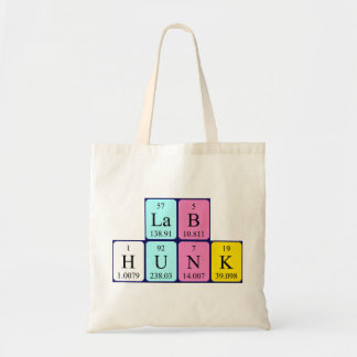 Lab Hunk periodic table name tote bag