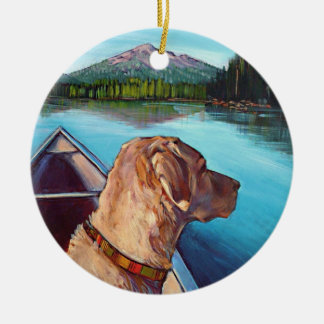 Lab in Canoe Ornament