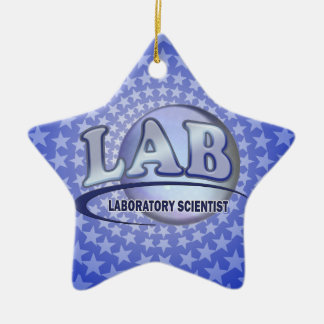 LAB - LABORATORY SCIENTIST! Fun Blue LOGO Ceramic Ornament