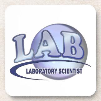 LAB - LABORATORY SCIENTIST! Fun Blue LOGO Drink Coaster
