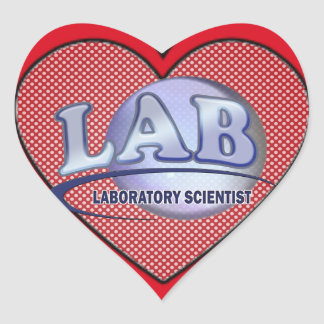 LAB - LABORATORY SCIENTIST! Fun Blue LOGO Heart Sticker