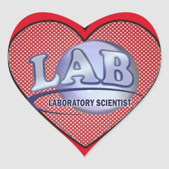LAB - LABORATORY SCIENTIST! Fun Blue LOGO Heart Sticker