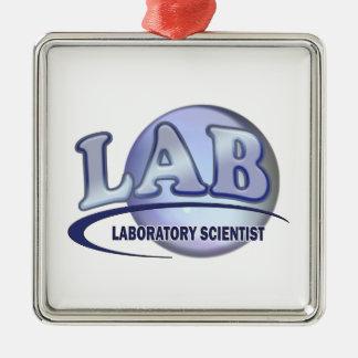 LAB - LABORATORY SCIENTIST! Fun Blue LOGO Metal Ornament