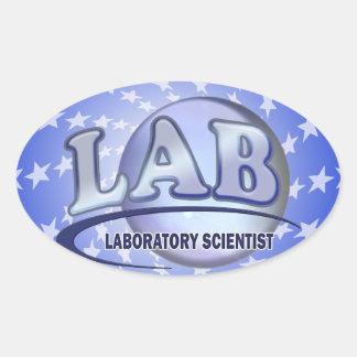 LAB - LABORATORY SCIENTIST! Fun Blue LOGO Oval Sticker