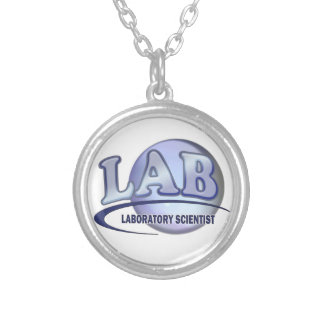LAB - LABORATORY SCIENTIST! Fun Blue LOGO Silver Plated Necklace