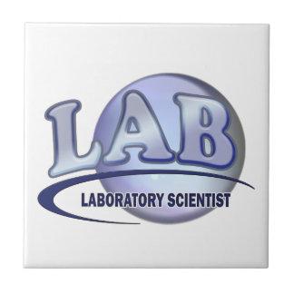 LAB - LABORATORY SCIENTIST! Fun Blue LOGO Tile