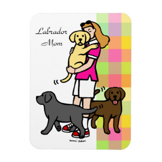 Lab Mom in the Pink Shirt 1 Rectangular Photo Magnet