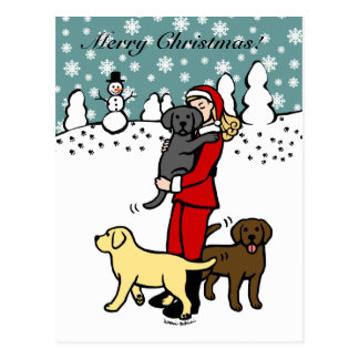 Lab Mom Santa Christmas Postcard