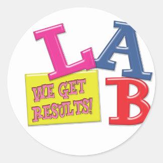 LAB MOTTO LABORATORY WE GET RESULTS! CLASSIC ROUND STICKER