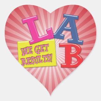 LAB MOTTO LABORATORY WE GET RESULTS! HEART STICKER