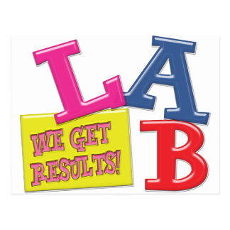 LAB MOTTO LABORATORY WE GET RESULTS! POSTCARD