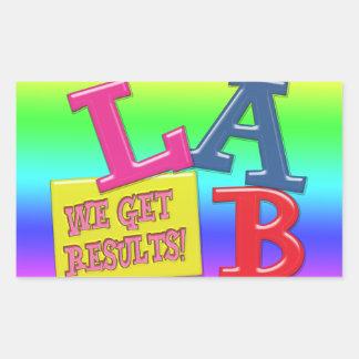 LAB MOTTO LABORATORY WE GET RESULTS! RECTANGULAR STICKER
