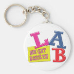 LAB MOTTO - WE GET RESULTS - MEDICAL LABORATORY KEYCHAINS