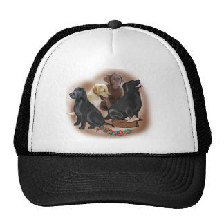 Lab puppies with toys trucker hat