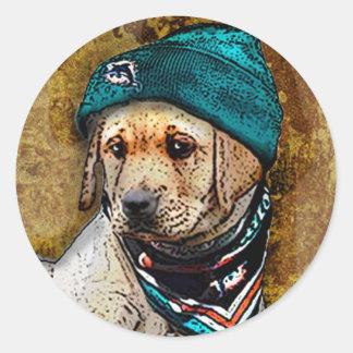 Lab Puppy Dog Fan in Miami Dolphins Gear Classic Round Sticker