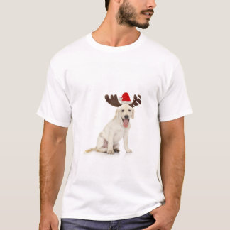 Lab Puppy Wearing Antlers T-Shirt