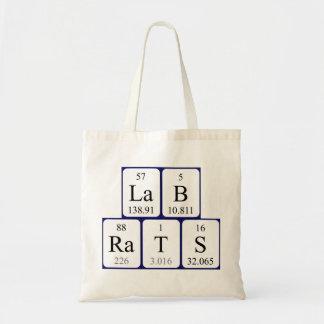 Lab Rats periodic table name tote bag