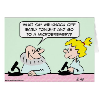 lab scientists microscope microbrewery card
