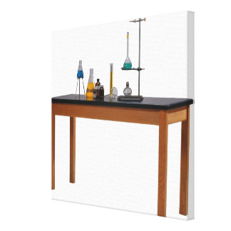 Lab table with chemicals stretched canvas prints