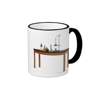 Lab table with chemicals coffee mug