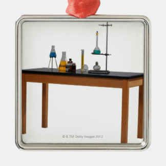 Lab table with chemicals metal ornament