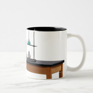 Lab table with chemicals mug