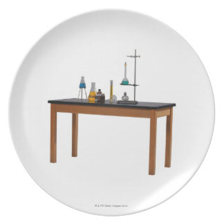 Lab table with chemicals plate
