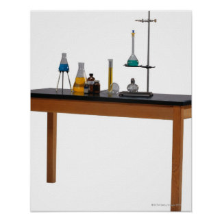 Lab table with chemicals poster