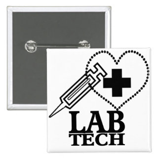 LAB TECH HEART SYRINGE LOGO - LABORATORY SCIENTIST PINBACK BUTTONS