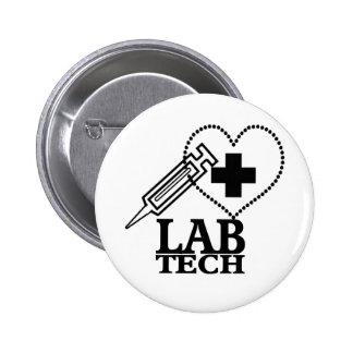 LAB TECH HEART SYRINGE LOGO - LABORATORY SCIENTIST BUTTON