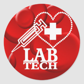 LAB TECH HEART SYRINGE LOGO - LABORATORY SCIENTIST CLASSIC ROUND STICKER