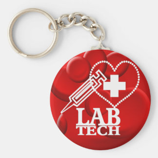 LAB TECH HEART SYRINGE LOGO - LABORATORY SCIENTIST KEYCHAIN