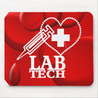 LAB TECH HEART SYRINGE LOGO - LABORATORY SCIENTIST MOUSE PAD