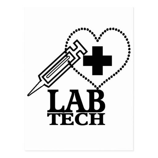 LAB TECH HEART SYRINGE LOGO - LABORATORY SCIENTIST POSTCARDS
