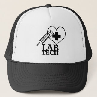 LAB TECH HEART SYRINGE LOGO - LABORATORY SCIENTIST TRUCKER HAT