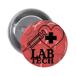 LAB TECH HEART. SYRINGE LOGO MEDICAL LABORATORY SC PINBACK BUTTONS