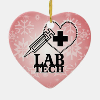 LAB TECH HEART. SYRINGE LOGO MEDICAL LABORATORY SC CERAMIC ORNAMENT